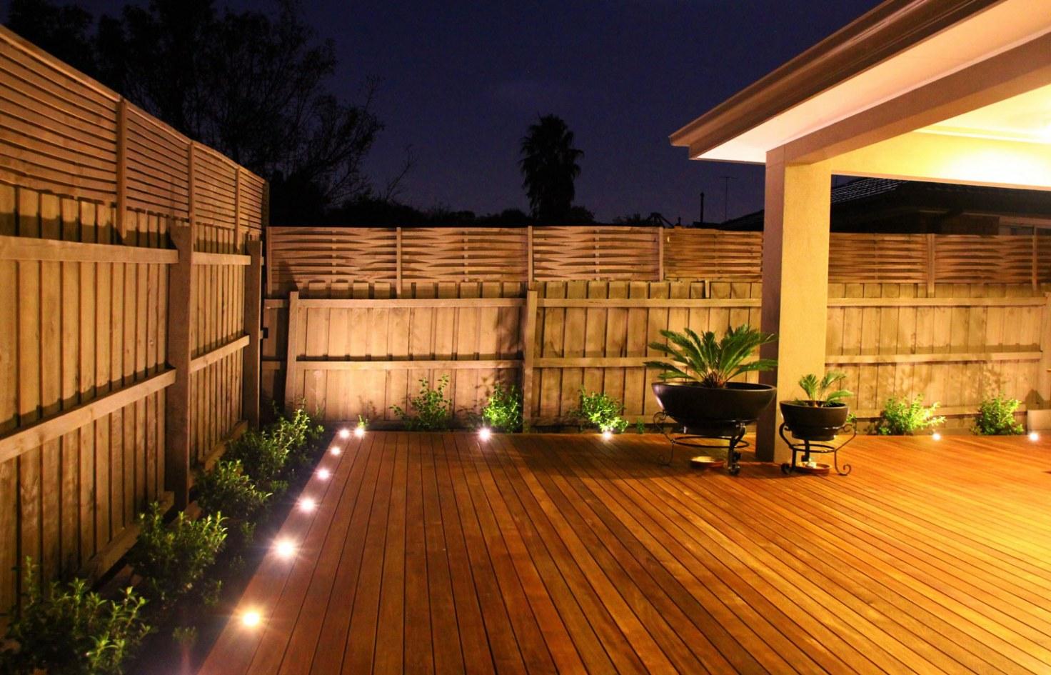 Backyard merbau decking in Ashburton landscape design