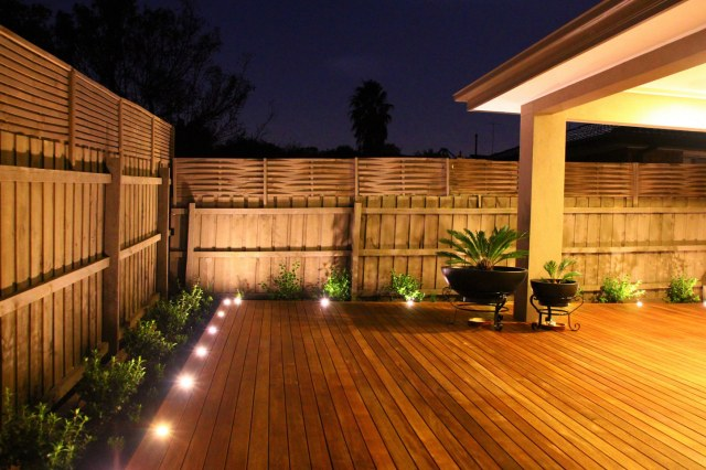 Backyard merbau decking in Ashburton landscape design