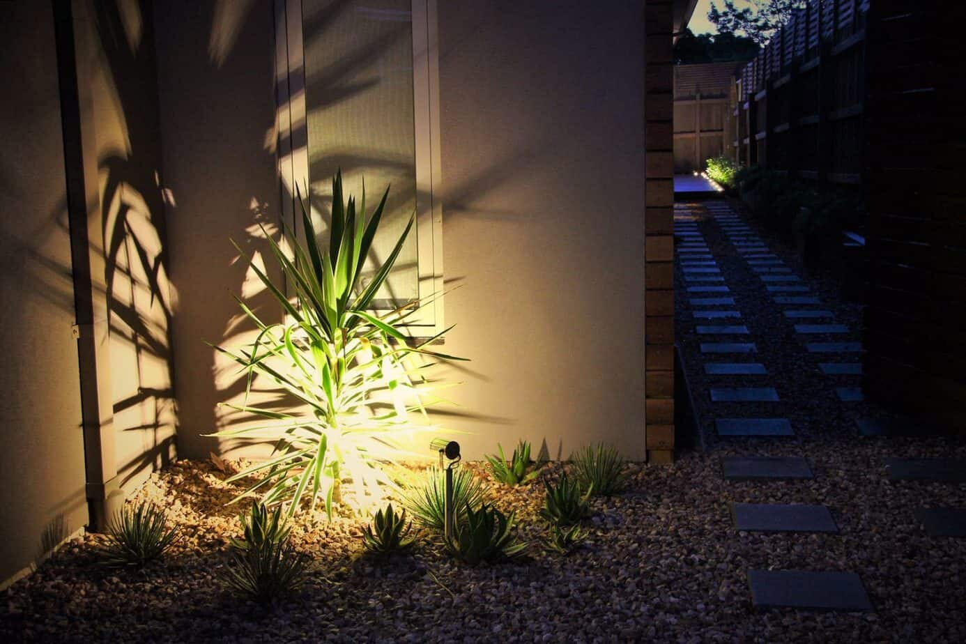 Garden lighting on front garden plants in Ashburton landscape design