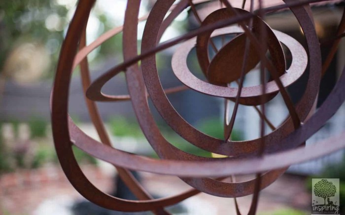 Corten spherical ring garden sculpture in Blackburn landscape design