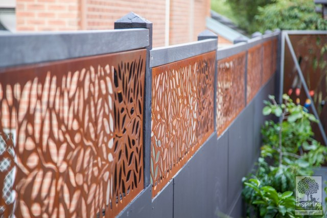 Beautiful corten fence topping used in Kew garden design