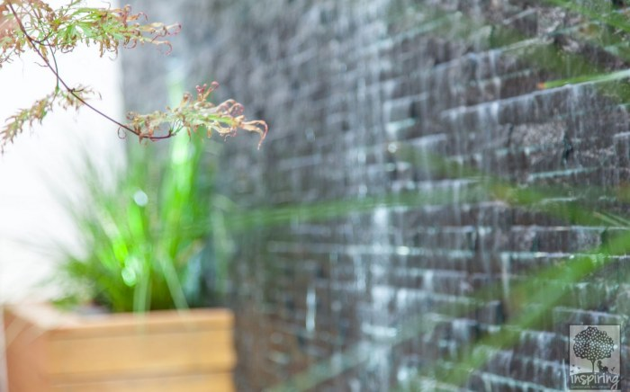 Closeup view of the slate wall used to create the water feature in Maribyrnong courtyard garden