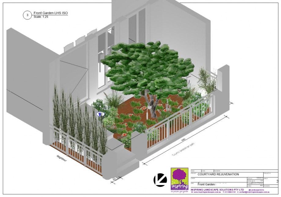 Hawthorn East 3D Landscape Plan Elevation for Front Garden Design