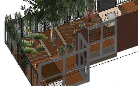 Hampton East Project 3D Elevation of rear courtyard