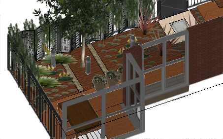 Hampton East Project 3D Elevation of rear courtyard