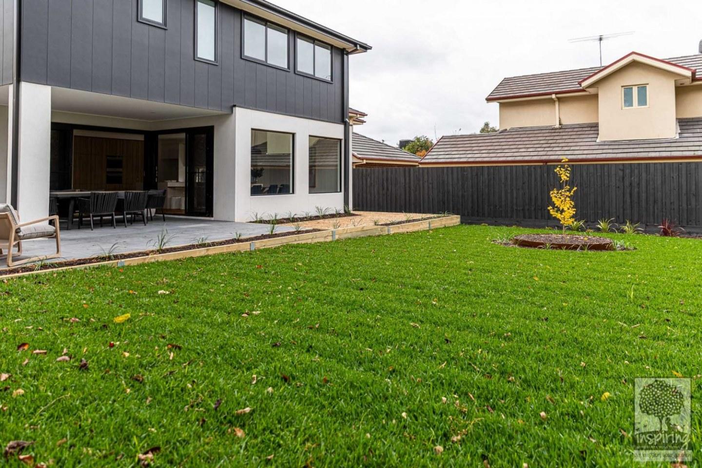 Large grassed area in Burwood landscape design by Inspiring Landscape Solutions
