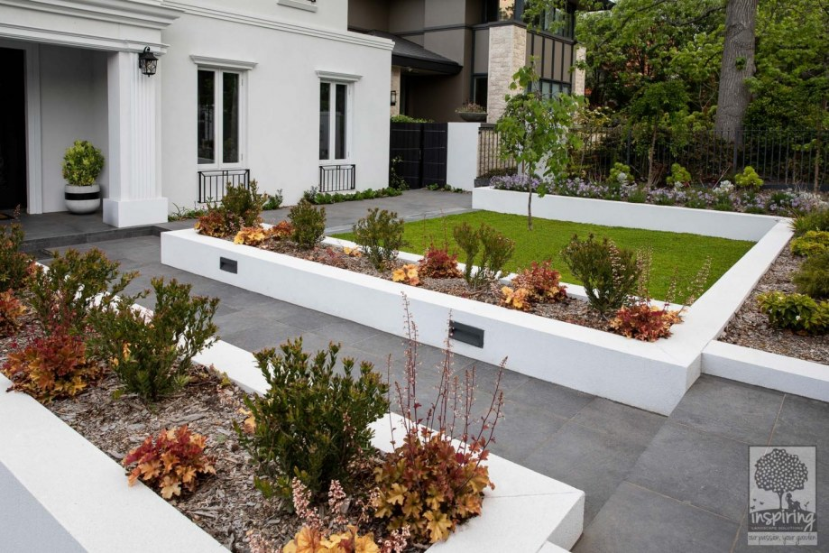 Front garden beds of a new build in Camberwell