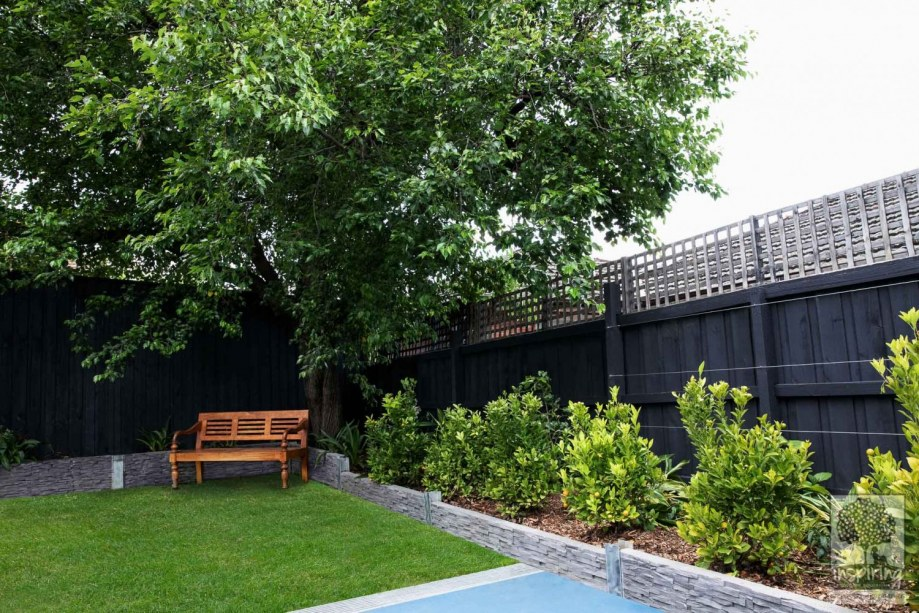Front view of an edible garden design using a cumquat hedge in the backyard of a Camberwell property in Melbourne