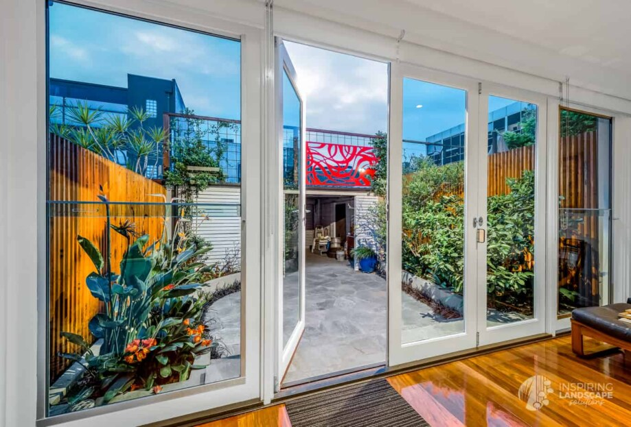 View from internal living spaces of Hawthorn East courtyard garden design by Parveen Dhaliwal