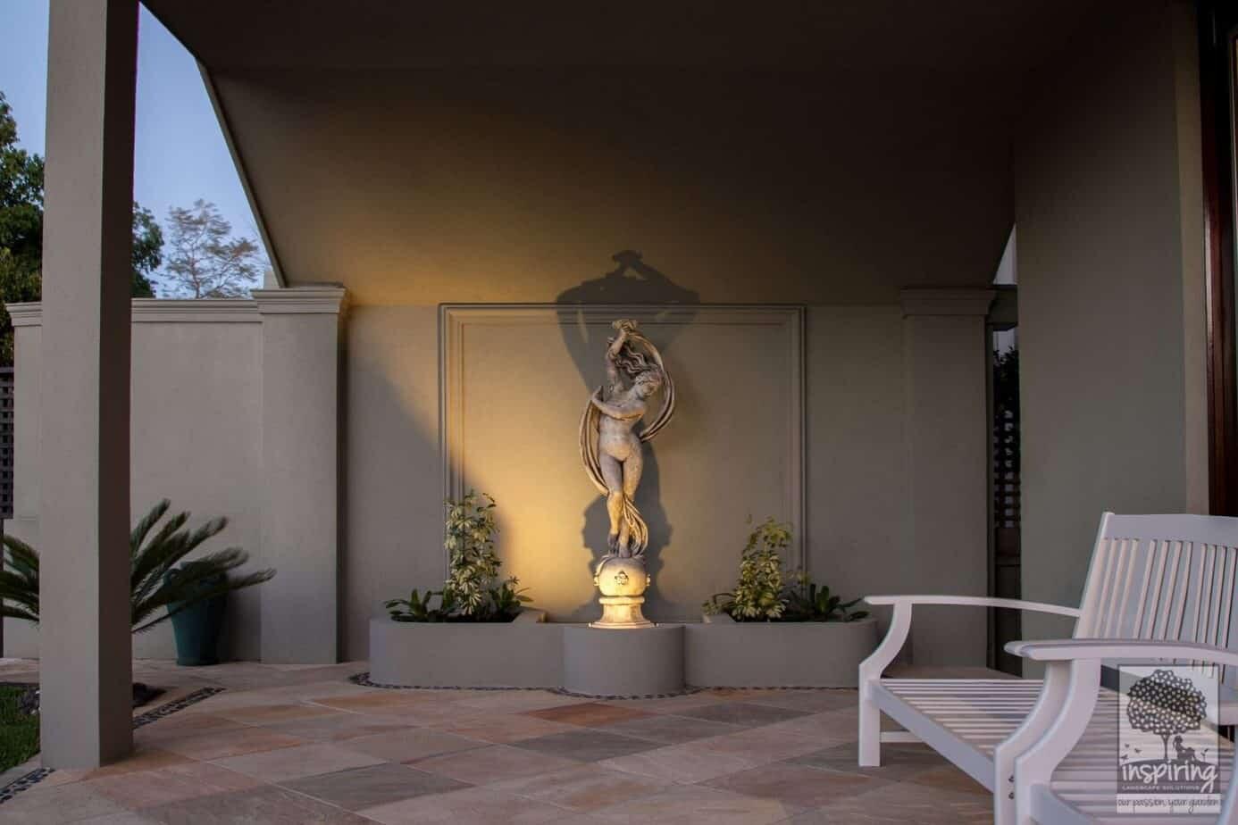 Closeup of garden statue used in Caulfield garden design
