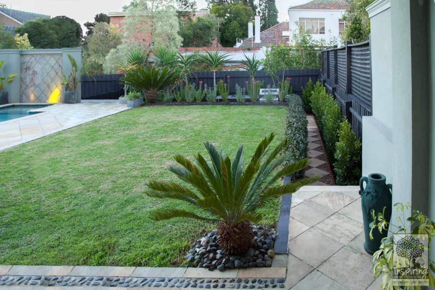 View of the lawn area from the lounge in Caulfield garden design makeover