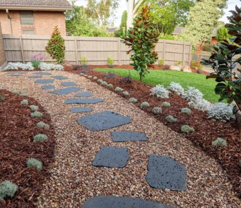 Bluestone cats paws pavers in Vermont South garden design