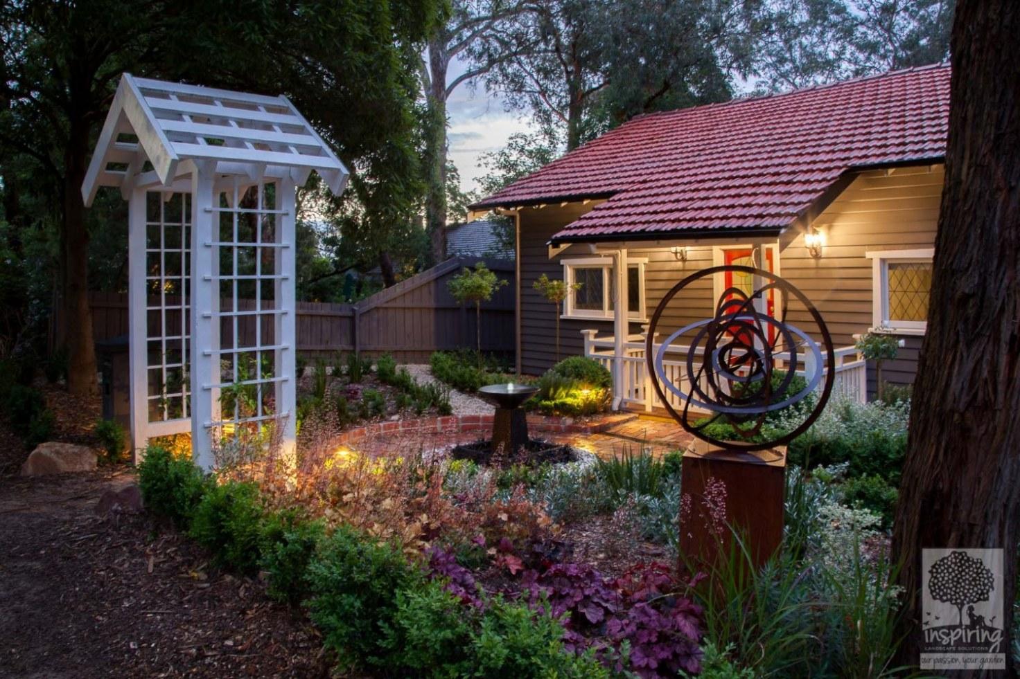 Blackburn front garden design lit up at night