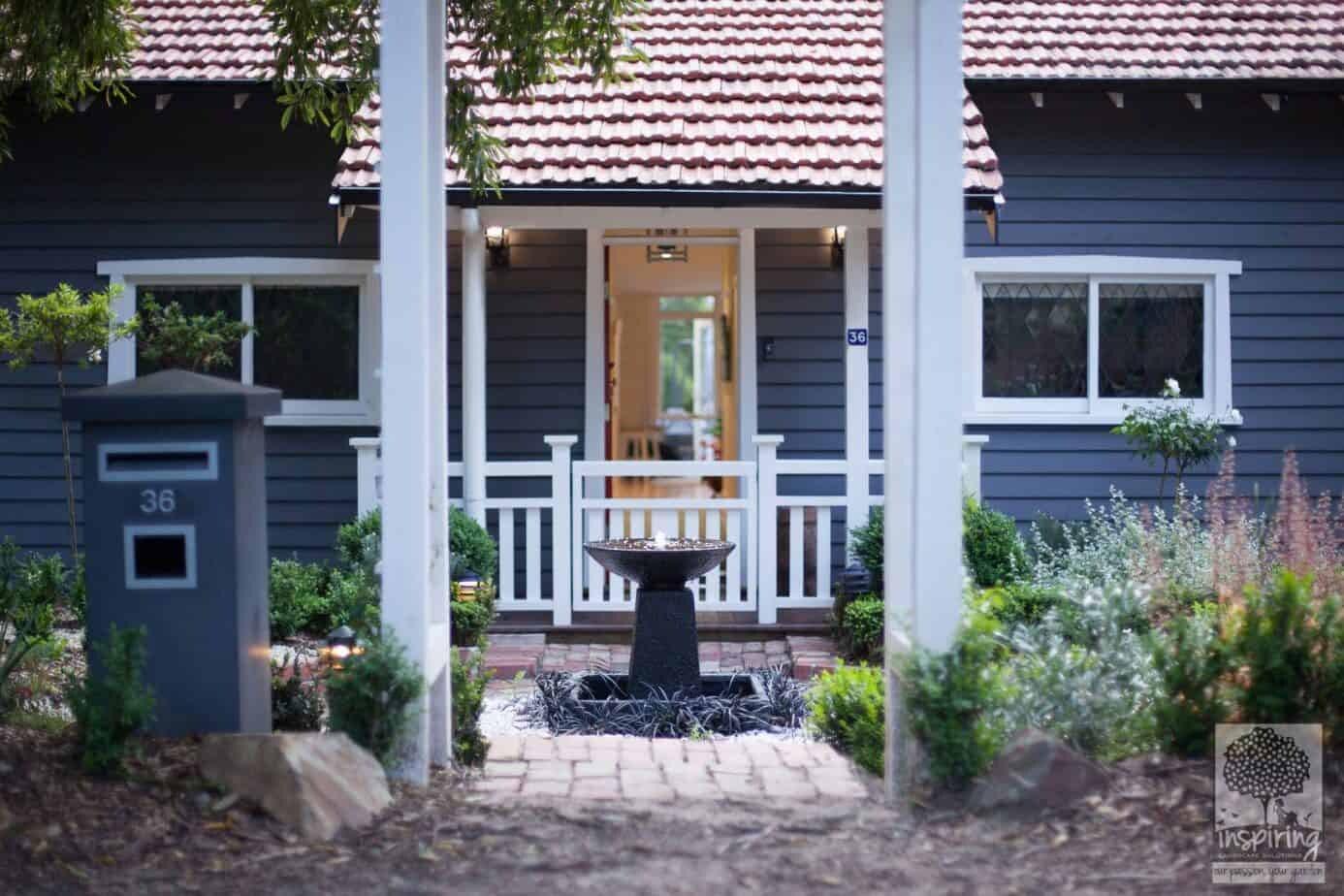 View of front door from nature strip in Blackburn garden design