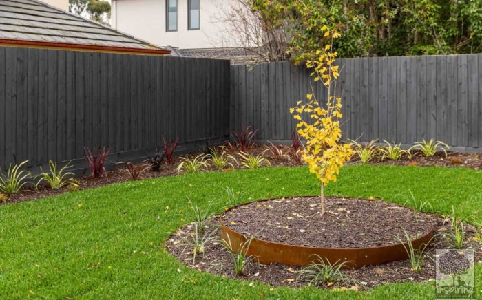 Backyard grassed area in Burwood landscape design by Inspiring Landscape Solutions