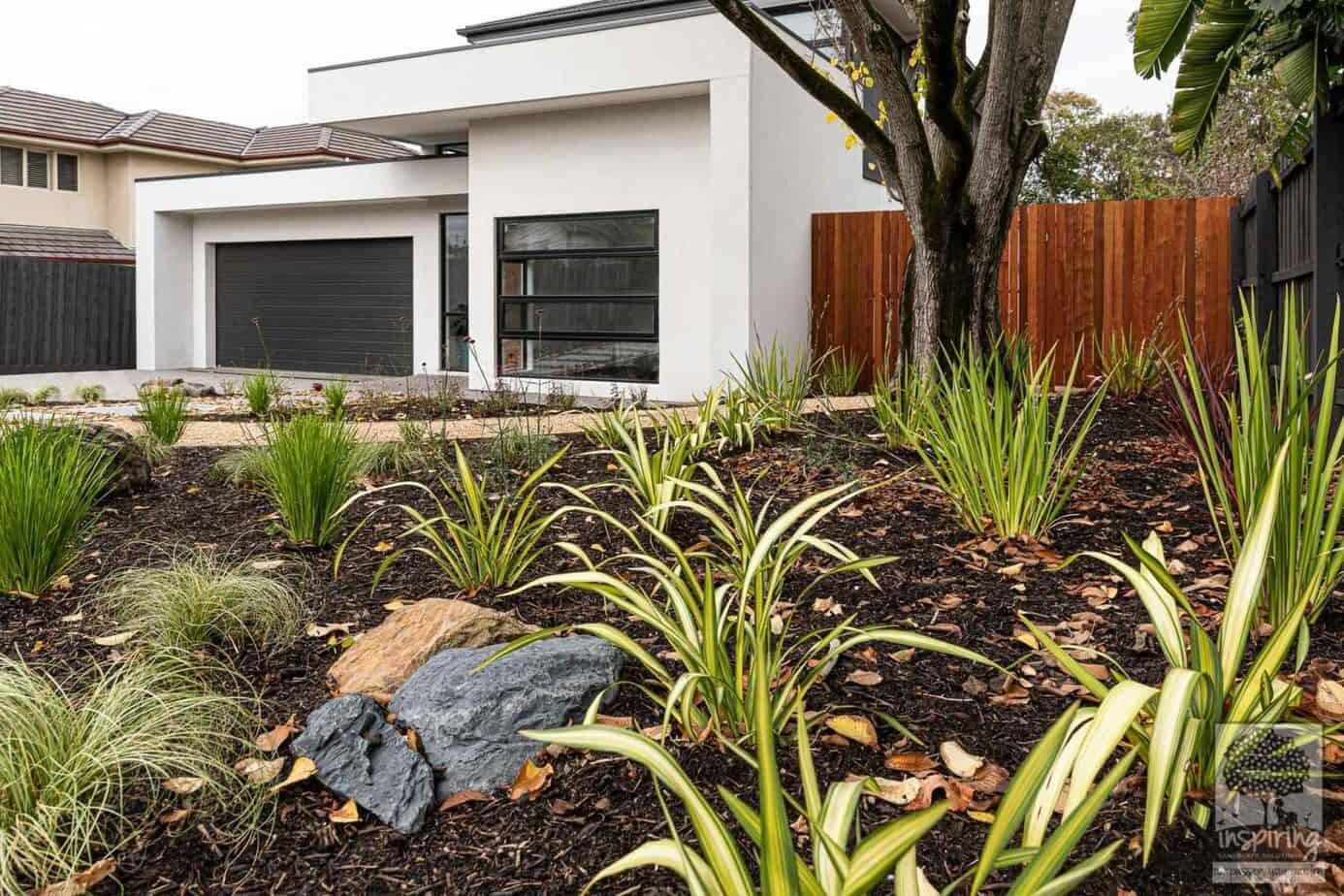 Street view of front garden in Burwood garden design by Inspiring Landscape Solutions