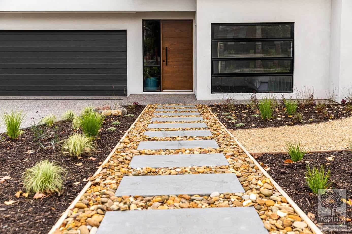 Street view of front entry stepper path in Burwood landscape design by Inspiring Landscape Solutions