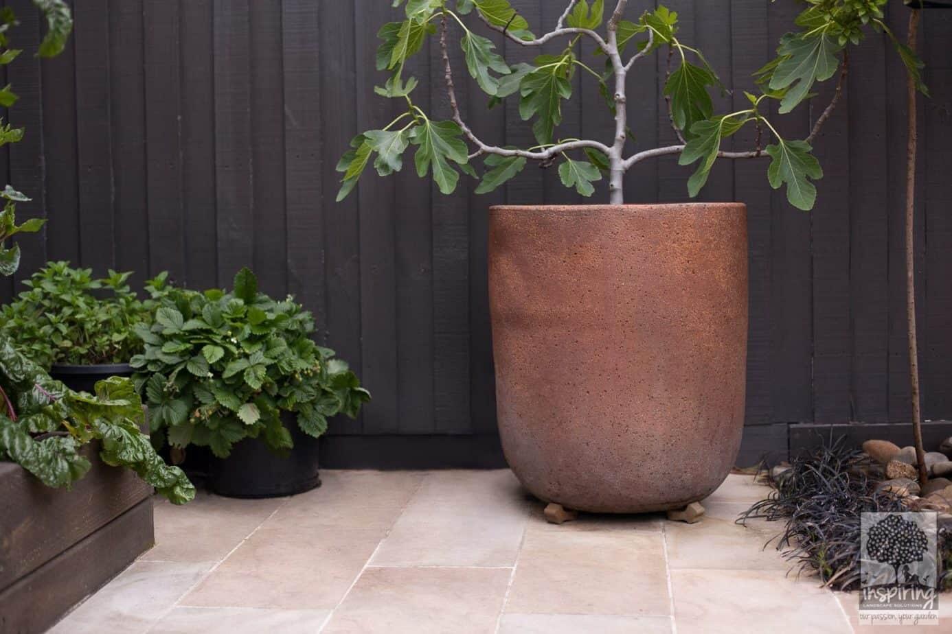 Closeup of pot styling area in Bundoora garden design