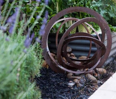 Closeup of garden sculpture used in Bundoora garden design