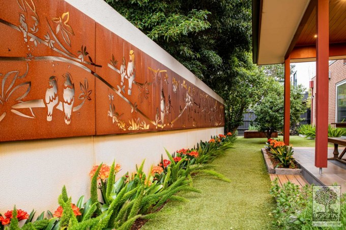 Corten wall lightbox used in Glen Waverley garden design