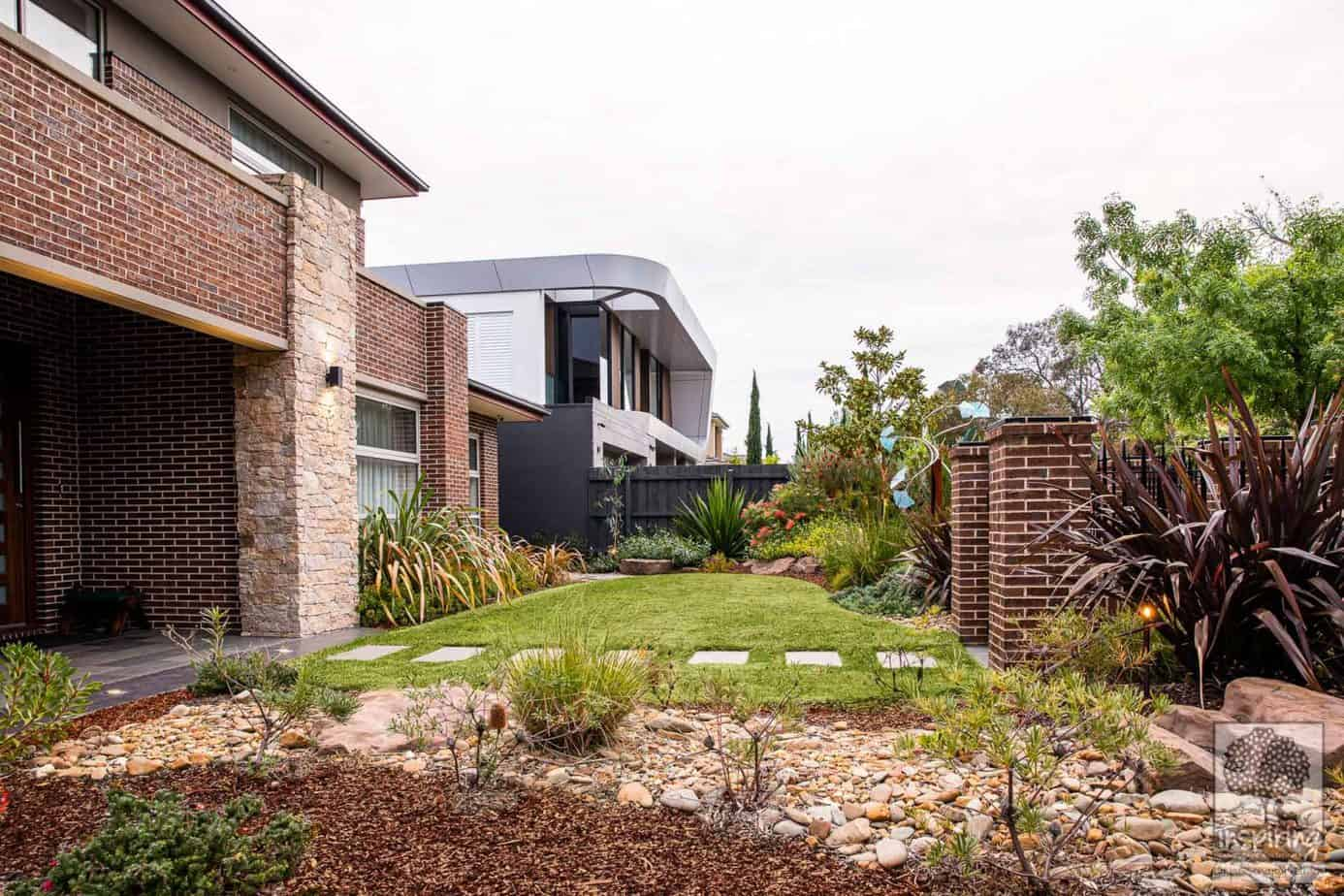 Side view of Glen Waverley front garden using largely native planting