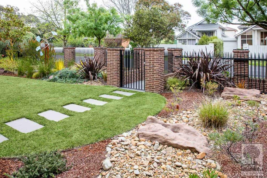 Glen Waverley garden design with dry rock creek bed and mixed planting of exotics and native Australian plants