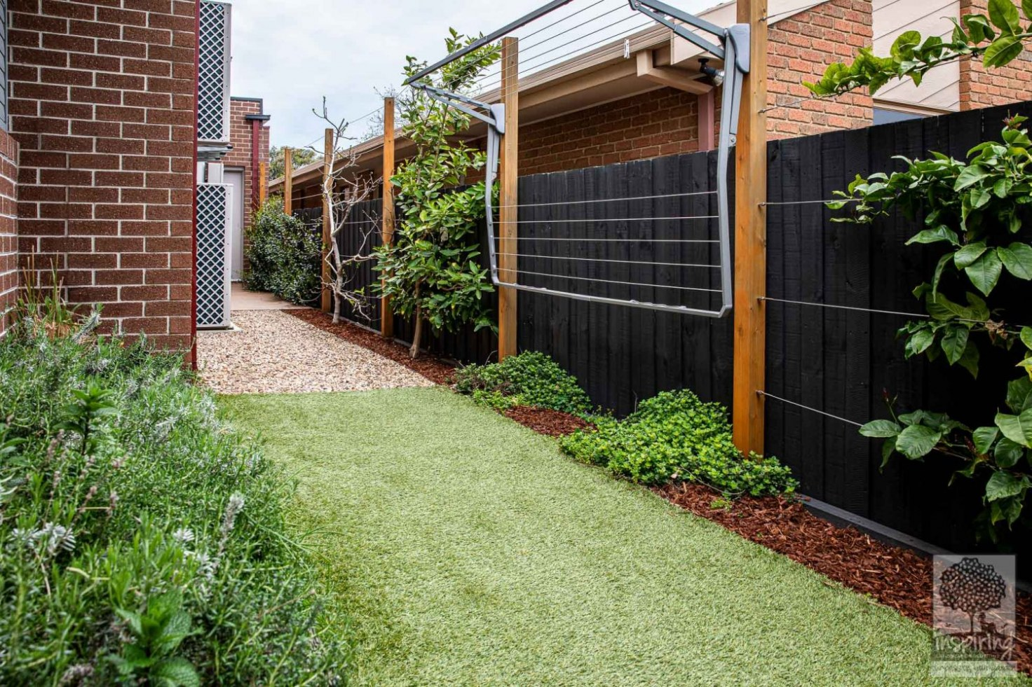 View of side area at the back of the property in Glen Waverley landscape design by Parveen Dhaliwal