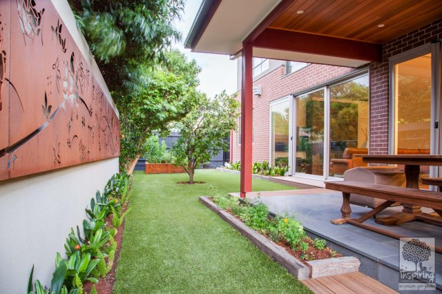 Beautiful corten wall lightbox used in Glen Waverley garden design by Parveen Dhaliwal