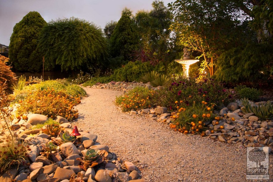 Productive garden design for Vermont South with garden lighting