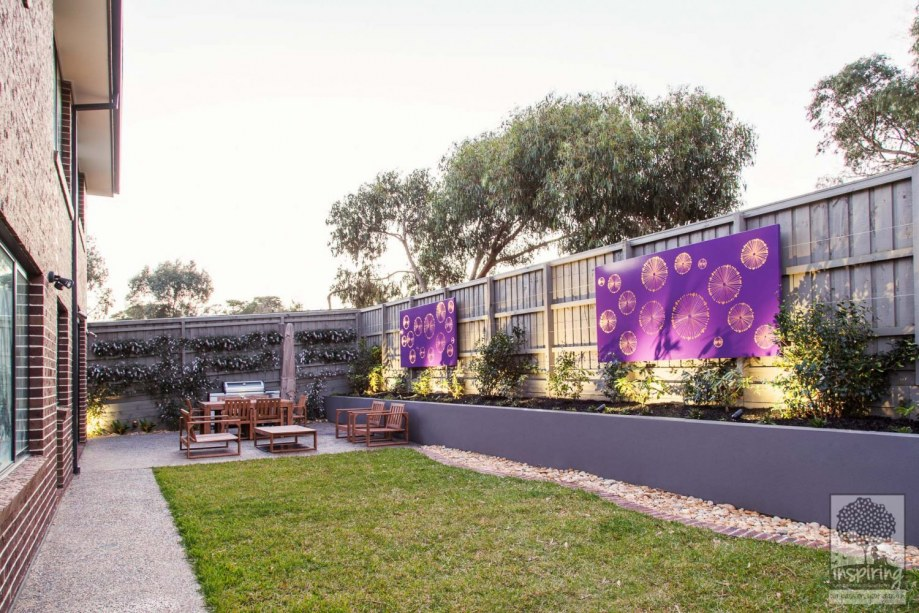 Corten wall lightbox used in Wantirna garden design