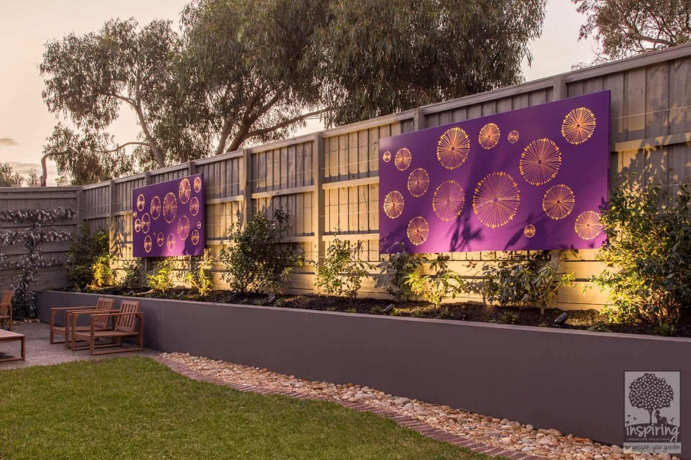 Purple corten wall lightbox used in Wantirna garden design
