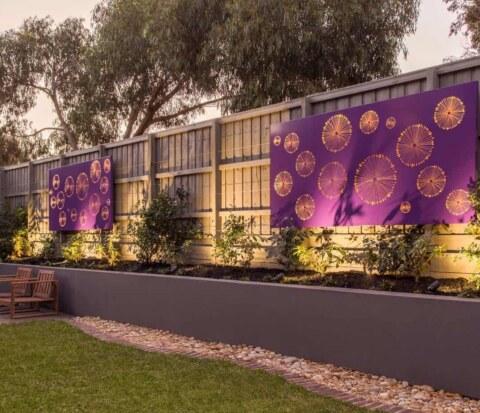 Purple corten wall lightbox used in Wantirna garden design