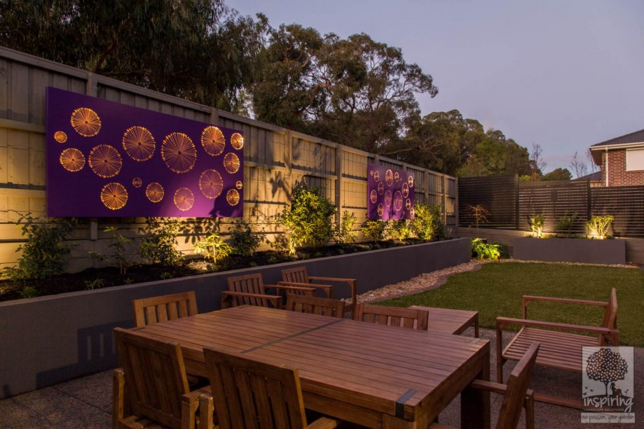 Corten wall lightbox used in Wantirna garden design lit at night
