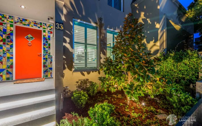 Dramatic lighting effect in Hawthorn East front garden design