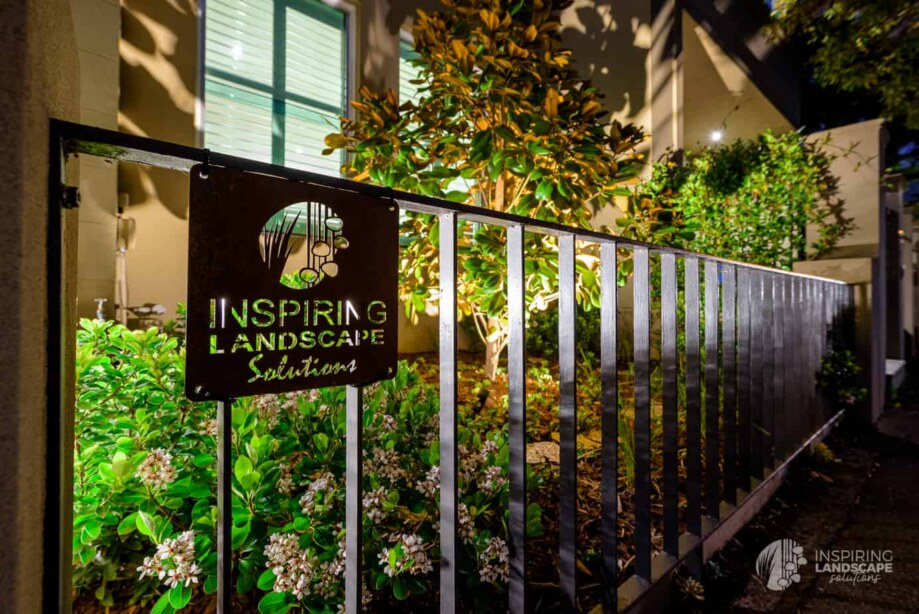 Custom metal signage in Hawthorn garden design by Inspiring Landscape Solutions