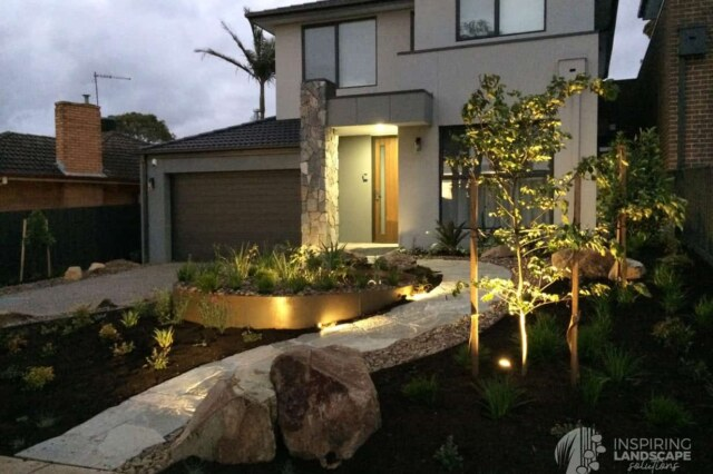 Lit up path in Mount Waverley garden design