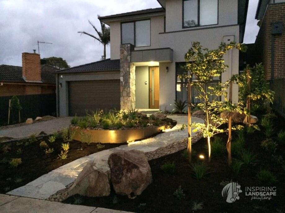 Lit up path in Mount Waverley garden design