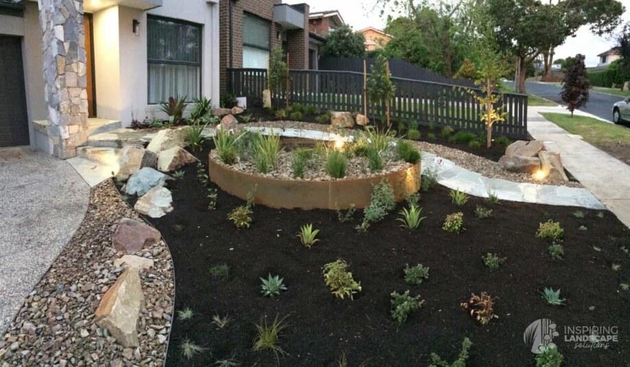 Custom circle corten planter in Mount Waverley garden design