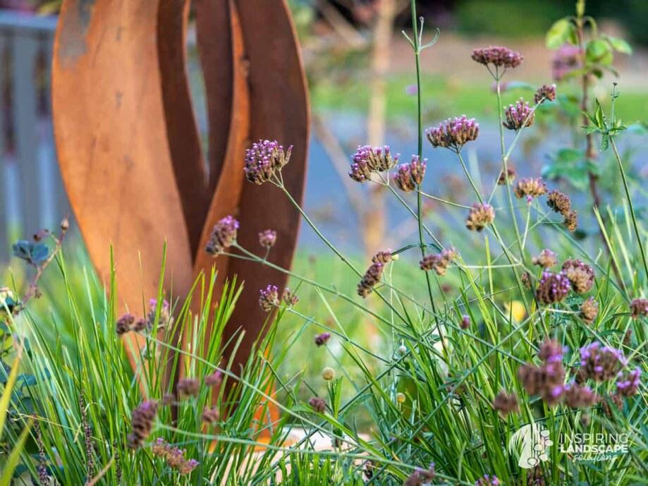 Corten sculpture used in Mount Waverley garden design